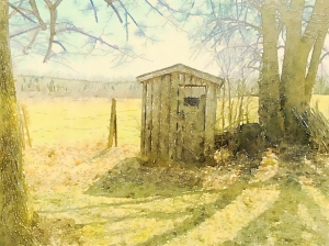 Watercolor of the outhouse on my grandparent's property.